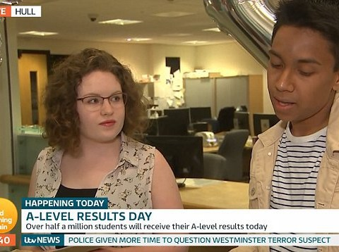 Awkward moment student finds out he hasn't got A-level grades live on TV