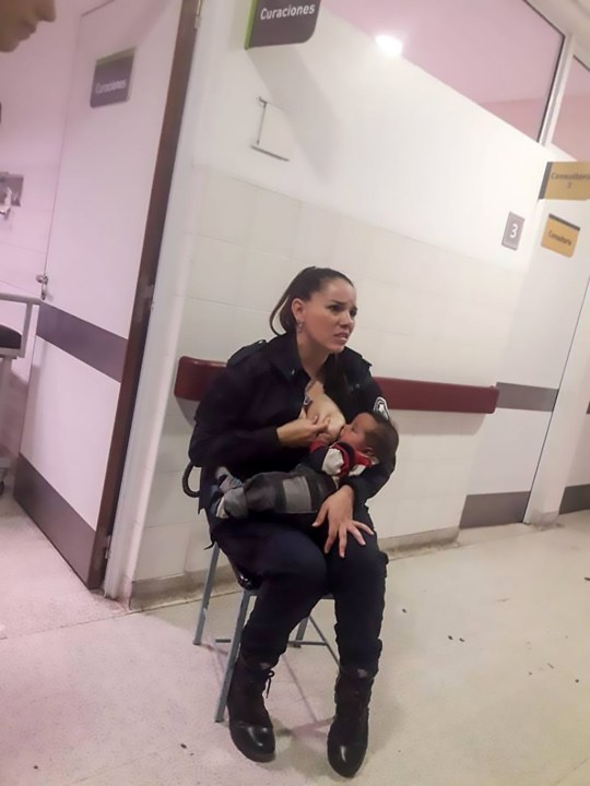 "Pic Shows: Celeste Ayala breastfeeding the baby; A female police officer has been praised after she felt sympathy for a smelly and dirty baby neglected by busy hospital staff and allowed it to breastfeed from her. The cop, Celeste Ayala, works in the city of Berisso, in the eastern Argentina province of Buenos Aires. According to local media Ayala had been on guard duty at the children???s hospital of Sor Maria Ludovica when a baby was brought in crying desperately. Reportedly the baby had been bought to the hospital suffering from symptoms of malnutrition. The officer says she asked the doctors for permission to hold and feed him as she could see the baby was very hungry, and hospital staff were overloaded with work. The permission was given and Ayala cuddled the baby and started to breastfeed him, after which he reportedly stopped crying immediately. Ayala told local media: ""I noticed that he was hungry, as he was putting his hand into his mouth, so I asked to hug him and breastfeed him. It was a sad moment, it broke my soul seeing him like this, society should be sensitive to the issues affecting children, it cannot keep happening."" A friend of the police officer, Marcos Heredia, says that the hospital staff called the baby 'smelly and dirty', but that Ayala was not concerned. He took a picture of her breastfeeding the hungry baby and shared it online. He said: ""I want to make public this great gesture of love you made today for this little baby who you did not know, but for who you did not hesitate to act like a mother. You did not care if he was dirty or smelly, which is what the hospital staff called him. Good job mate."" The photo received more than 68,000 likes, 94,000 shares and almost 300 admiring comments from netizens. According to local media, the baby is the younger brother of six siblings from a single mother who is in a dire situation and this is why he was smelly and dirty. Even the fire brigade, of which Ayala also volunteers for in her"