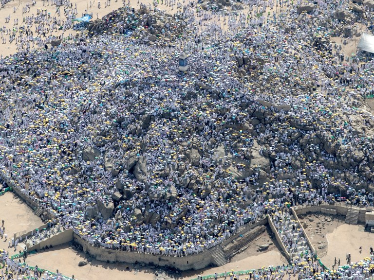 epa06959727 An aerial view of the Mount Arafat, where thousands Muslim worshippers gather during the Hajj pilgrimage, near Mecca, Saudi Arabia, 20 August 2018. Around 2.5 million Muslims are expected to attend this year's Hajj pilgrimage, which is highlighted by the Day of Arafah, one day prior to Eid al-Adha. Eid al-Adha is the holiest of the two Muslims holidays celebrated each year, it marks the yearly Muslim pilgrimage (Hajj) to visit Mecca, the holiest place in Islam. EPA/SEDAT SUNA