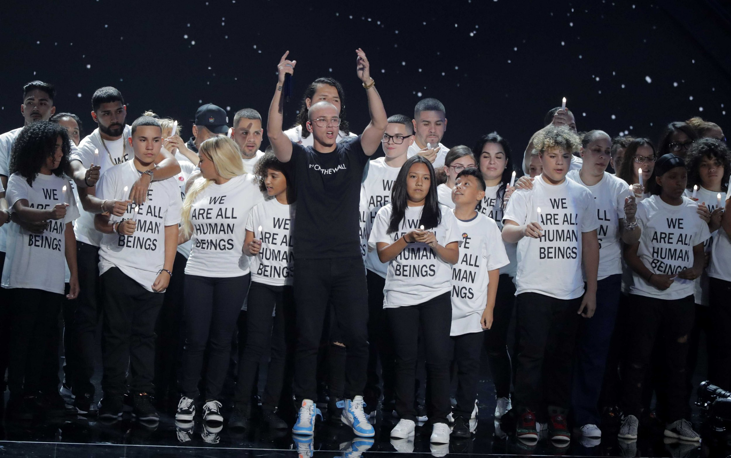 Logic and Ryan Tedder deliver politically-charged 'f*ck the wall' performance at MTV VMAs 2018