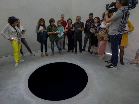 Man injures himself after stepping into artwork that looks like a black hole
