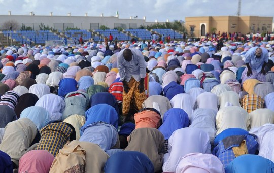 Muslim faithfuls take part in prayer