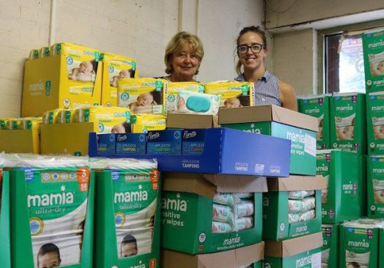Deputy City Mayor Councillor Paula Boshell and Gemma Griffin of Salford Citizen's Advice with the donated goods before they were stolen in August, 2018news.