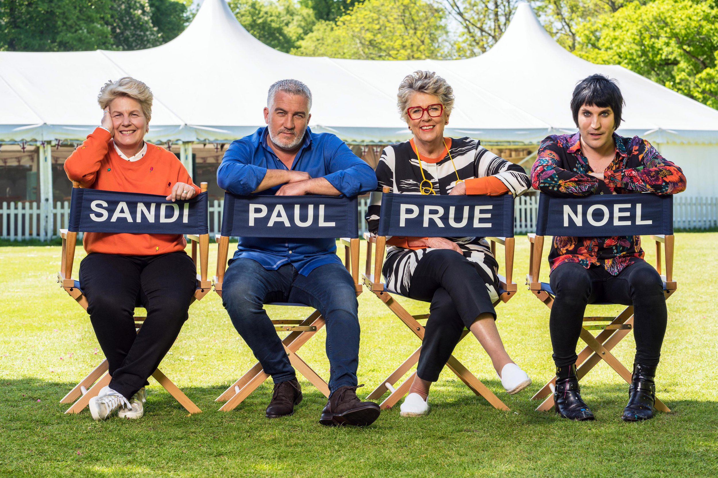 The Great British Bake Off (2018).Talent Specials: - Presenters and Judges: left to right - Sandi Toksvig, Paul Hollywood, Prue Leith and Noel fielding.