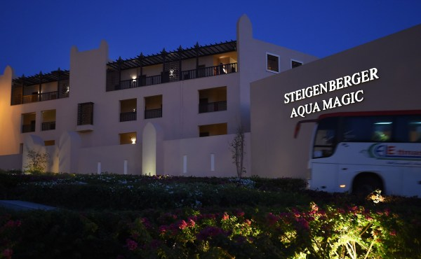 """This picture shows the Steigenberger hotel in Egypt's Red Sea resort of Hurghada on August 24, 2018. - Tour operator Thomas Cook moved all its customers from a hotel in Egypt after a British couple staying there died in circumstances their daughter on Friday called """"suspicious"""". The company said it was unclear what had caused the deaths on Tuesday of the Britons, named by Egyptian authorities as 69-year-old John and Susan Cooper, 63, from the town of Burnley in northern England. The family had been staying at the plush Steigenberger Aqua Magic Hotel in the Red Sea resort of Hurghada. (Photo by MOHAMED EL-SHAHED / AFP)MOHAMED EL-SHAHED/AFP/Getty Images"""