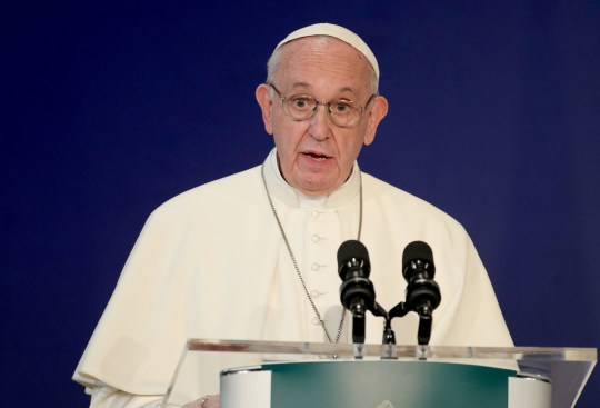 Pope Francis delivers a speech in St Patrick's Hall at Dublin Castle, Dublin, as part of his visit to Ireland. PRESS ASSOCIATION Photo. Picture date: Saturday August 25, 2018. See PA story IRISH Pope. Photo credit should read: Yui Mok/PA Wire