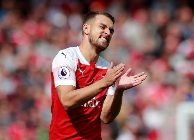 """Soccer Football - Premier League - Arsenal v West Ham United - Emirates Stadium, London, Britain - August 25, 2018 Arsenal's Aaron Ramsey reacts Action Images via Reuters/Andrew Couldridge EDITORIAL USE ONLY. No use with unauthorized audio, video, data, fixture lists, club/league logos or """"live"""" services. Online in-match use limited to 75 images, no video emulation. No use in betting, games or single club/league/player publications. Please contact your account representative for further details."""