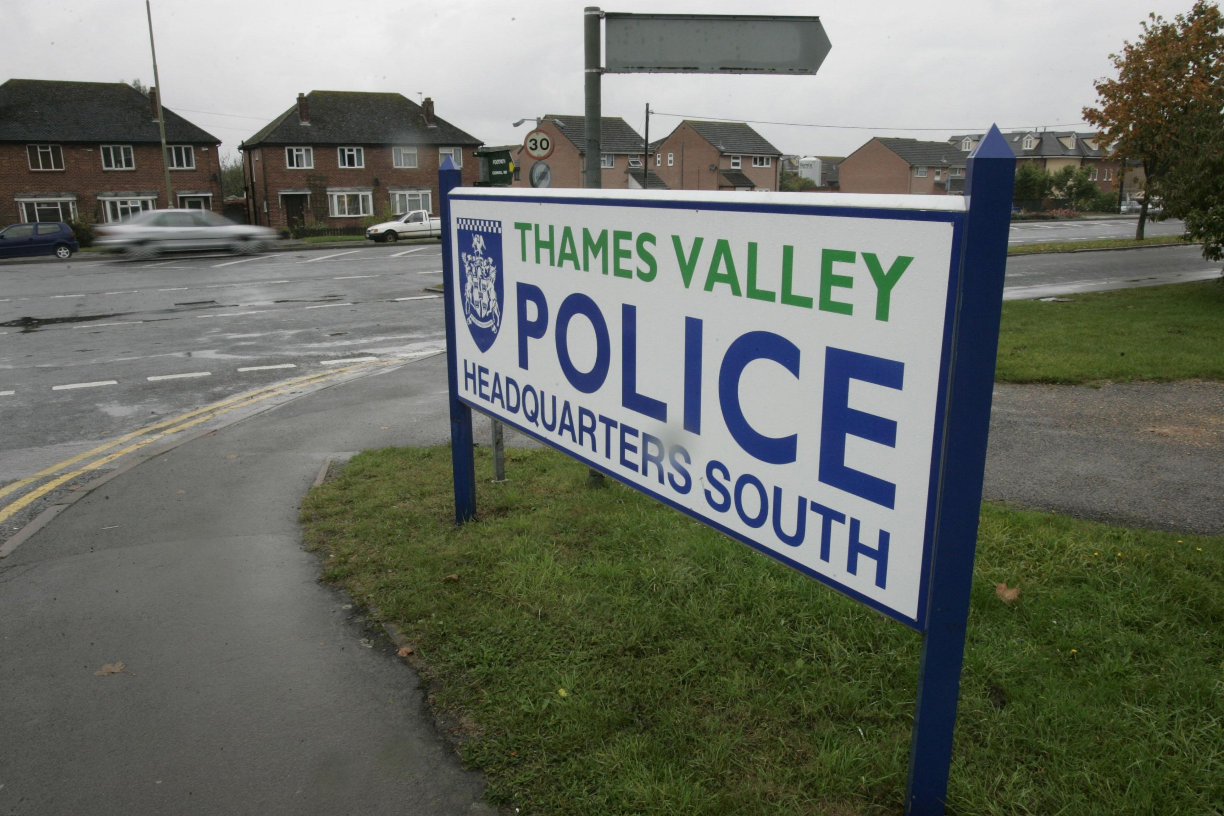 General view of the sign outside Thames Valley Police Head Quarters.