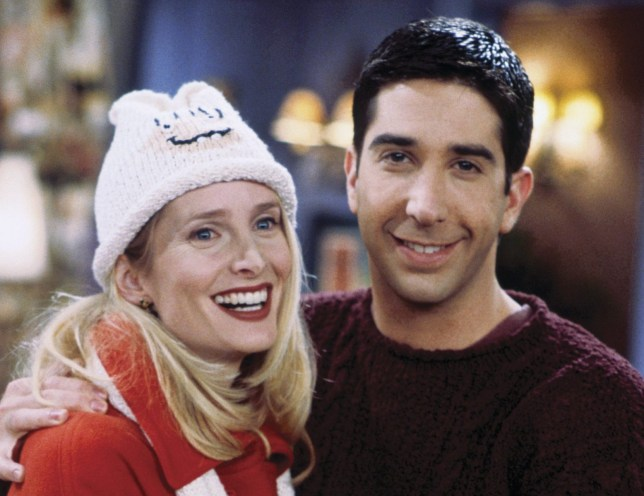 "FRIENDS -- ""The One with the Lesbian Wedding"" Episode 11 -- Pictured: (l-r) Jane Sibbett as Carol Willick-Bunch, David Schwimmer as Ross Geller (Photo by Paul Drinkwater/NBC/NBCU Photo Bank via Getty Images)"