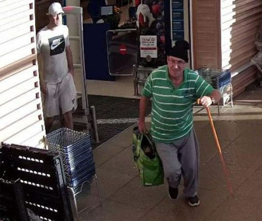 A pensioner using a walking stick was seen suddenly running from a Tesco store - and is now being hunted by police after an alleged theft.. The limping man - wearing a green-and-white striped shirt and a bobble hat - was caught on CCTV carrying a shopping bag in one hand and his stick in the other. But security staff say he stopped hobbling and was seen jogging out of the supermarket. Police want to trace the pensioner and another in T-shirt and shorts who watched him leave the store in Penarth near Cardiff. Pictured here are the people the police want to speak to WALES NEWS SERVICE