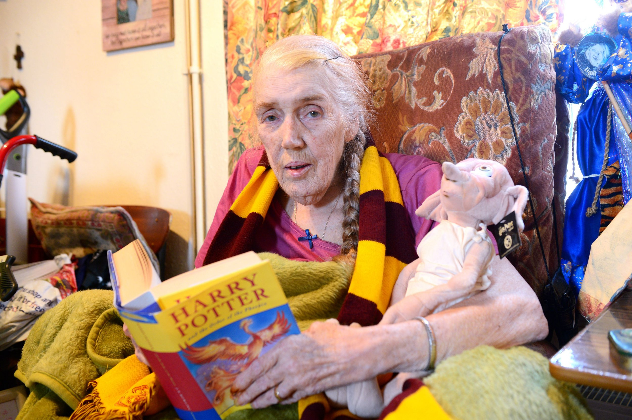 Harry Potter superfan Veronica Leaning, of Grimsby, who is suffering from terminal cancer has prepared everything for her funeral, including a Harry Potter themed coffin. Credit: Grimsby Telegraph/BPM Media Buy this photo at www.grimsbytelegraph.co.uk/buyaphoto or by contacting 03444 060 910 There are pictures from this story. REQUESTED BY: Connor Lynch CONTACT: DATE: 24/08/2018 POSTCODE: KEYWORDS: