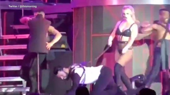 Rylan gets whipped by britney spearson stage picture: ThisMorning METROGRAB