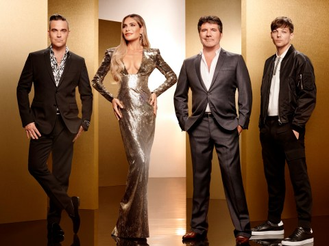 Louis Tomlinson, Robbie Williams and Ayda Field look ready for action as they join Simon Cowell for X Factor 2018