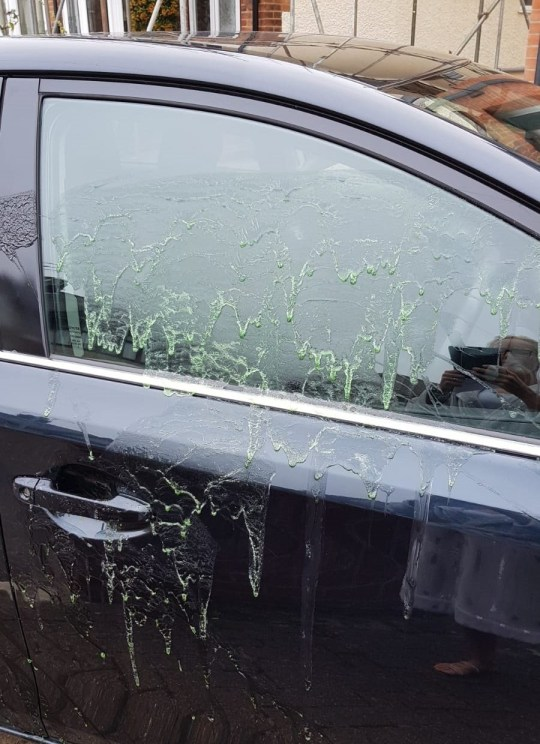 """A head teacher from Chelmsford, Essex, has said she felt """"sick"""" and """"violated"""" when she saw that vandals had squirted her car with 'acid'. Kate Mills, 47, head teacher of John Ray Infants School in Braintree, believes the 'attack' may have been targeted after the family Toyota Auris was covered in an unknown substance which has melted away the paintwork. The car was parked on a driveway in St John's Road, Old Moulsham when it was damaged."""