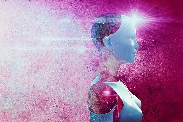 Profile of cyborg with purple brain