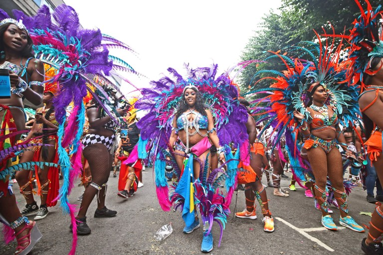 Dancers at the Notting Hill Carnival in west London. PRESS ASSOCIATION Photo. Picture date: Monday August 27, 2018. Photo credit should read: Yui Mok/PA Wire