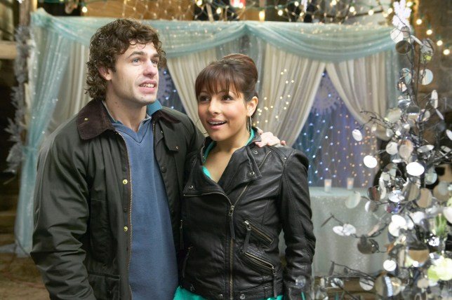 No Merchandising. Editorial Use Only Mandatory Credit: Photo by ITV/REX/Shutterstock (866460py) 'Emmerdale' TV Soap - 2008 Pictured: Jo Stiles (Roxanne Pallett) is left speachless when Andy Sugden (Kelvin Fletcher) leads her blindfolded in to the barn which has been decorated for their wedding. She thinks it's perfect. ITV Archive