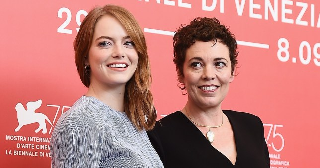 VENICE, ITALY - AUGUST 30: Emma Stone and Olivia Colman attend 'The Favourite' photocall during the 75th Venice Film Festival at Sala Casino on August 30, 2018 in Venice, Italy. (Photo by Stefania D'Alessandro/WireImage)