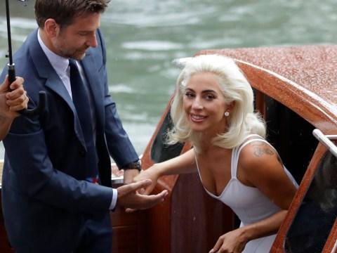 Lady Gaga channels Marilyn Monroe as she walks hand-in-hand with leading man Bradley Cooper