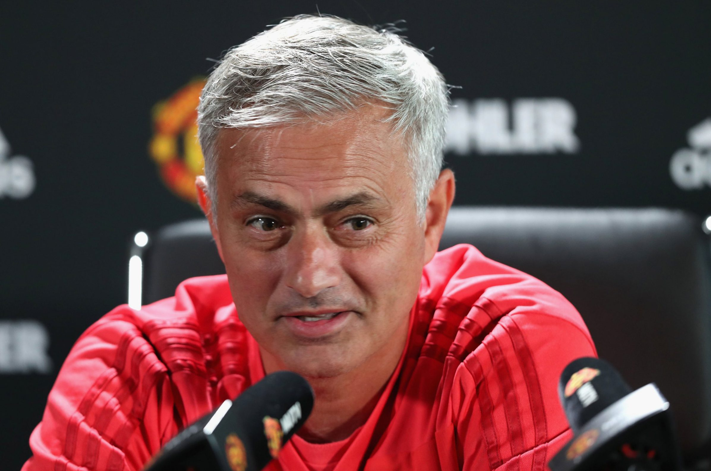MANCHESTER, ENGLAND - AUGUST 31: (EXCLUSIVE COVERAGE) Manager Jose Mourinho of Manchester United speaks during a press conference at Aon Training Complex on August 31, 2018 in Manchester, England. (Photo by John Peters/Man Utd via Getty Images)