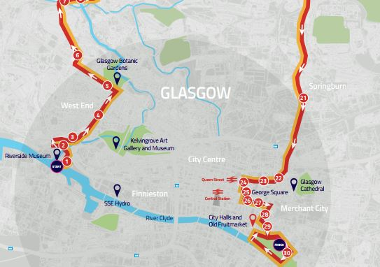 What roads are closed in Glasgow today for the European Championship time trial?