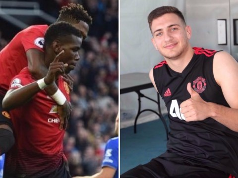 Diogo Dalot celebrates from stands as Paul Pogba makes Manchester United history