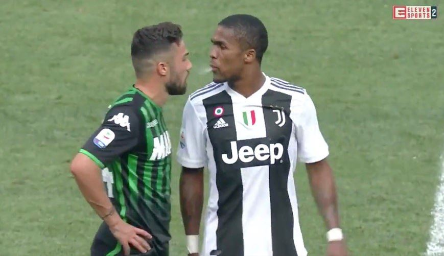 Patrice Evra sends superb message to Douglas Costa after Juventus winger spat in rival's mouth