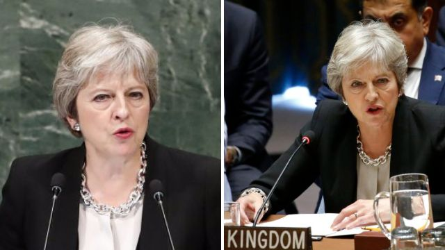 Theresa May rips into Putin at UN for 'desperate fabrication' of Salisbury attack
