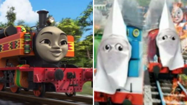 NRA puts KKK hoods on Thomas the Tank engine in protest at diverse new trains