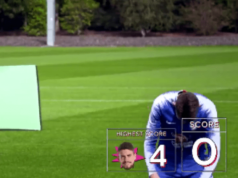 Chelsea duo Jorginho & Callum Hudson-Odoi in stitches laughing at Alvaro Morata's efforts in shooting challenge