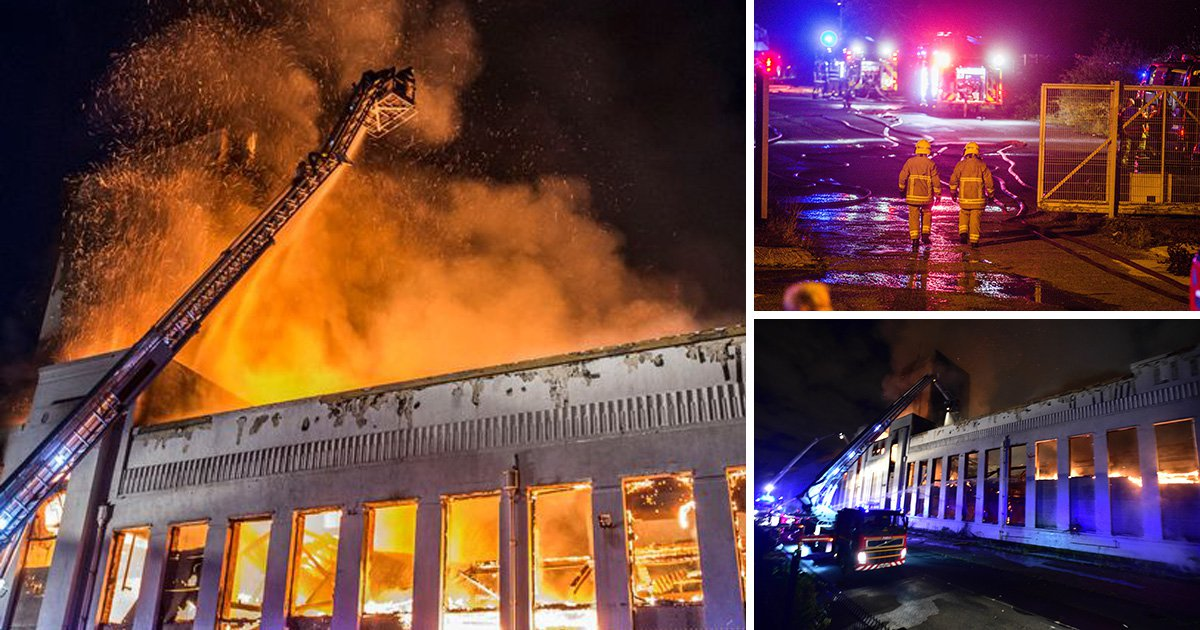 Huge fire destroys Littlewoods pools building in Liverpool after raging through the night