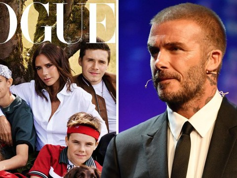 David misses out on Beckham family Vogue cover as Victoria poses with the kids