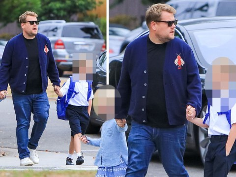 James Corden puts on an Early Early Show as he walks kids to school on first day