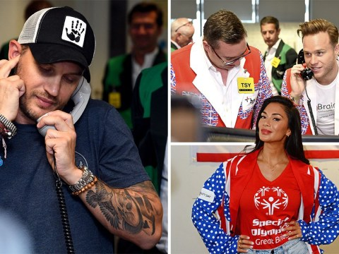 Tom Hardy mans the phones with Nicole Scherzinger and Olly Murs at BCG Charity day