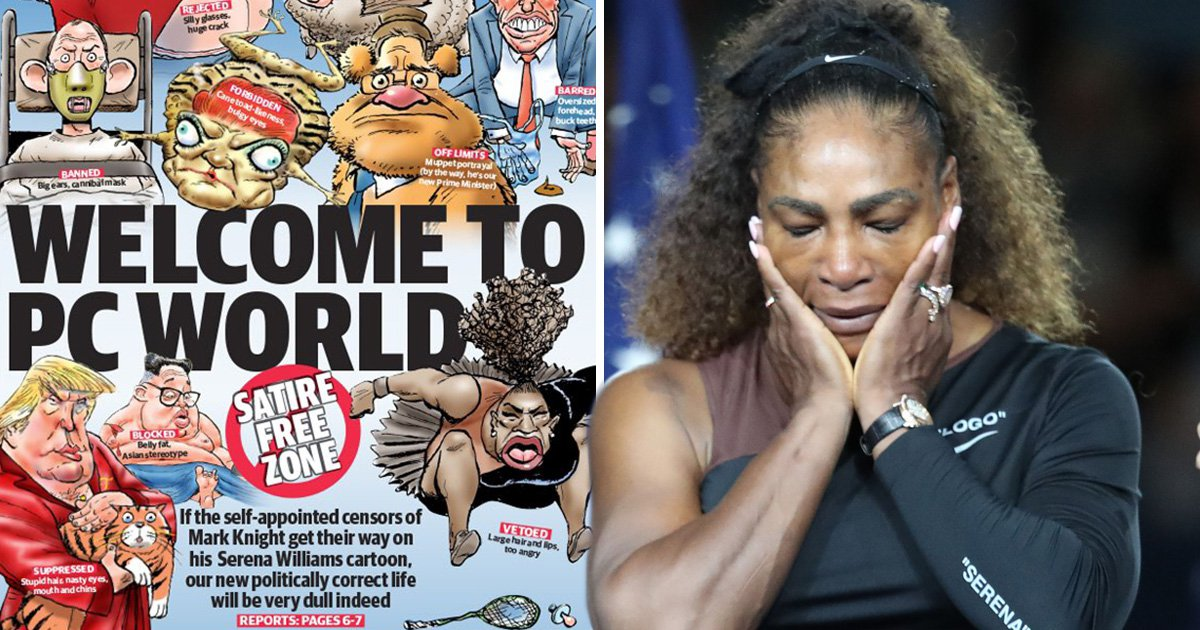 Newspaper defends 'disgustingly racist' Serena Williams cartoon with front page protest