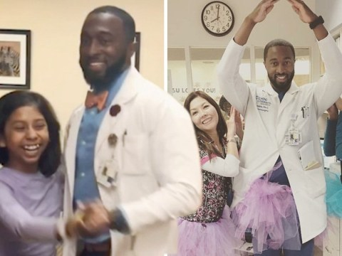 Doctor brings cheer to seriously ill children by dancing with them on the ward