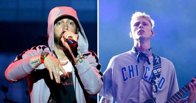 Eminem reginites Machine Gun Kelly feud on-stage in Brisbane as fans chant for Killshot diss track