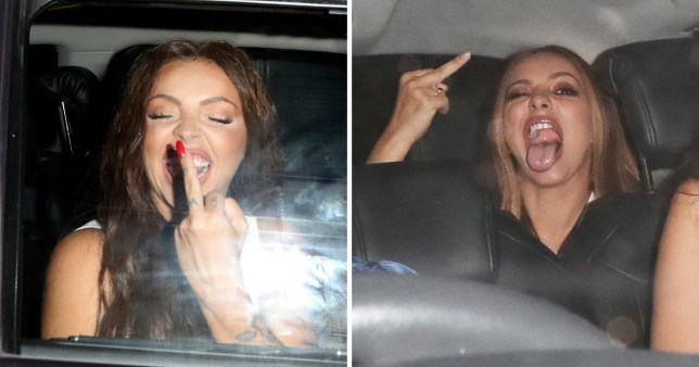 Jesy and Jade flip the bird on night out