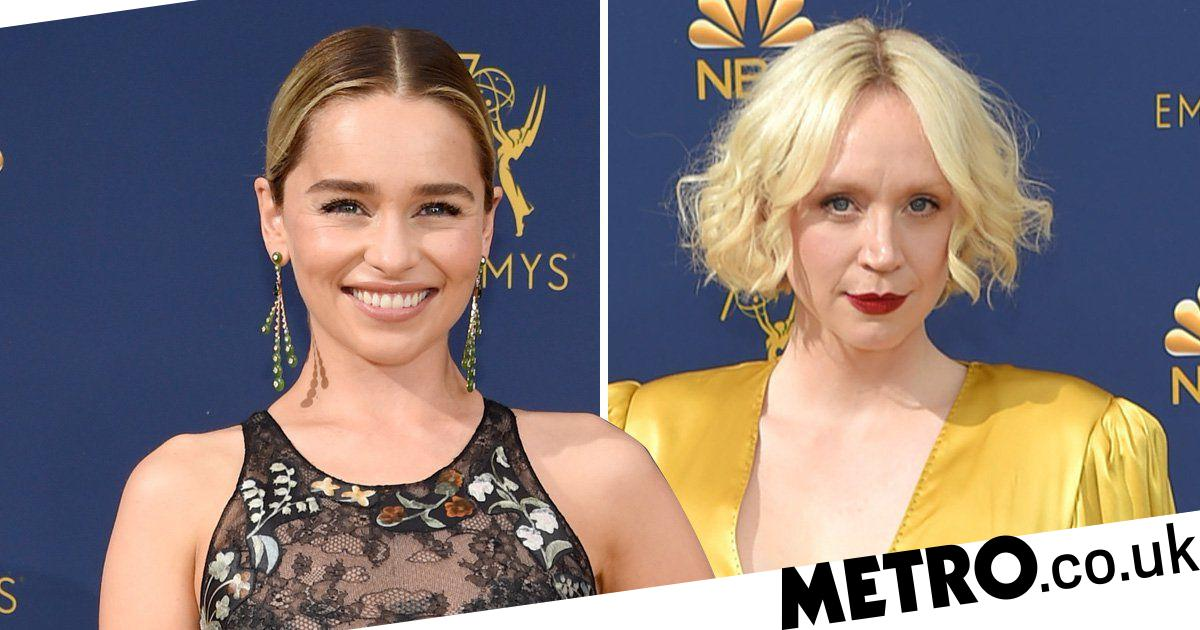 Emilia Clarke and Gwendoline Christie arrive at the Emmy
