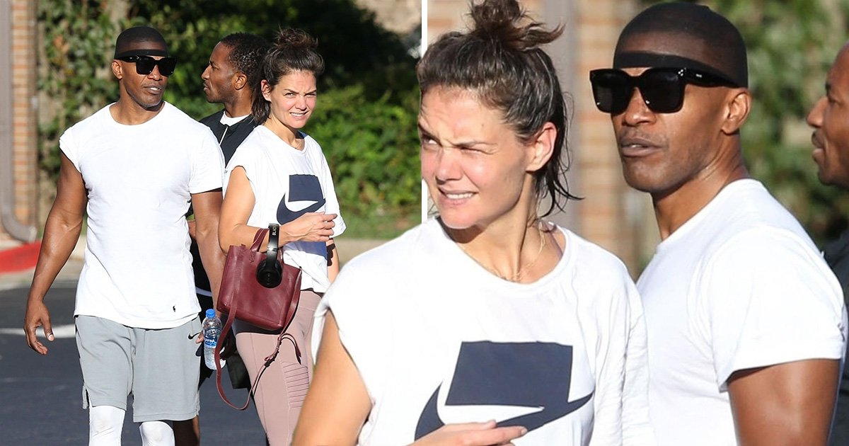 Katie Holmes and Jamie Foxx work up a sweat as they leave gym together in rare public outing