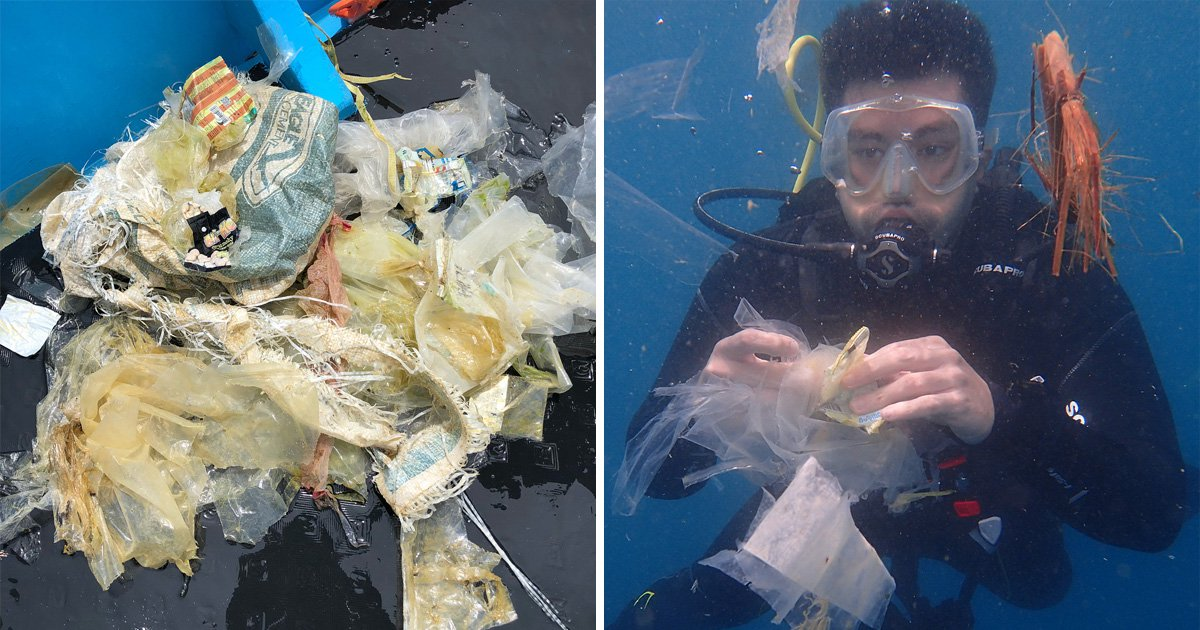 Scuba diver films himself surrounded by plastic at one of World's best dive spots