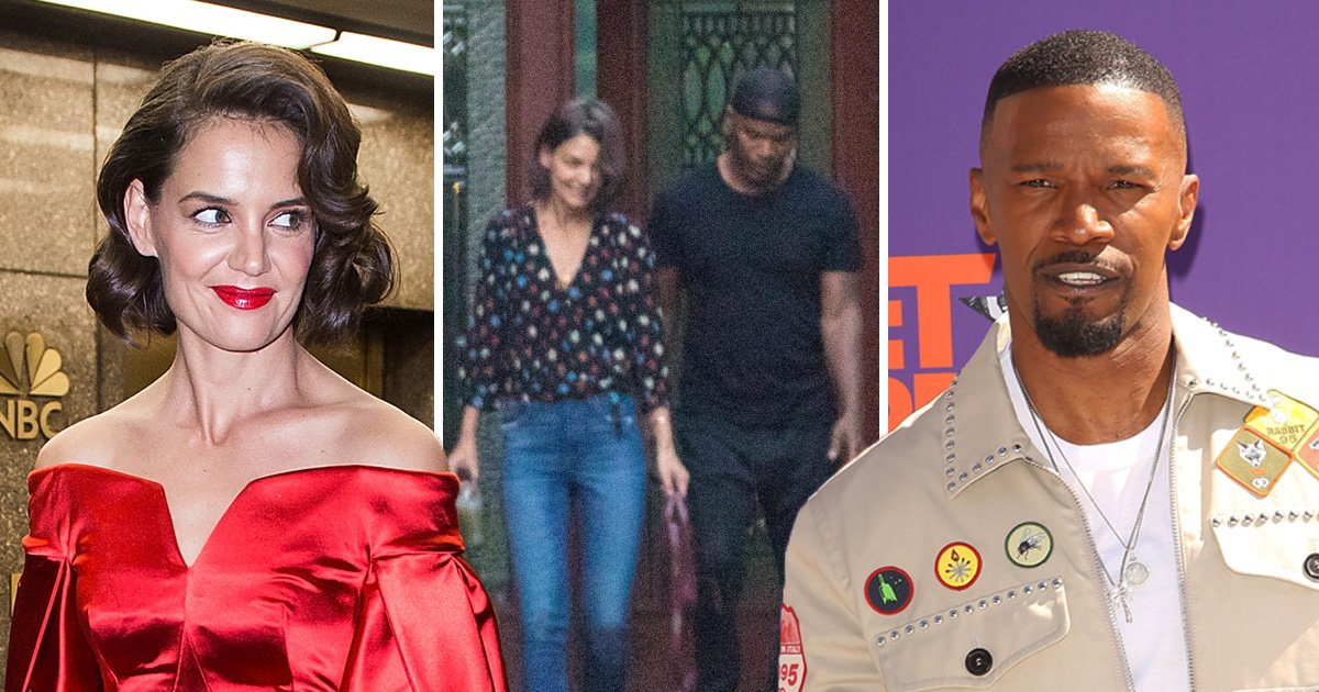 Katie Holmes is smitten with boyfriend Jamie Foxx as she visits him on movie set