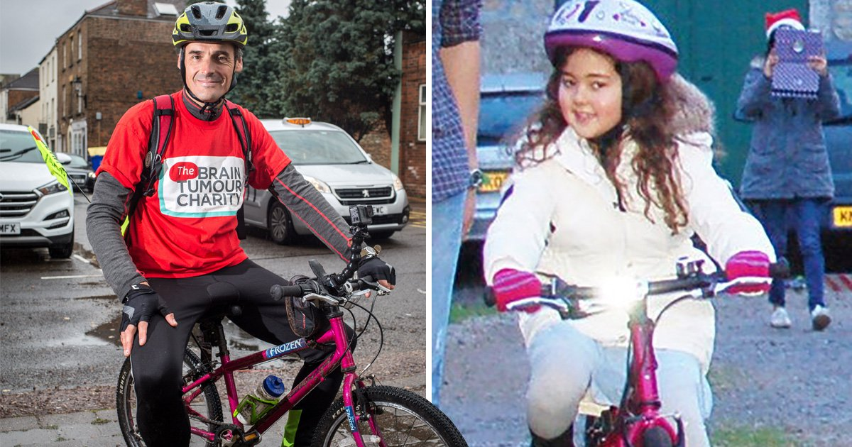 Father cycling 200 miles on daughter's pink bike after she died from brain tumour