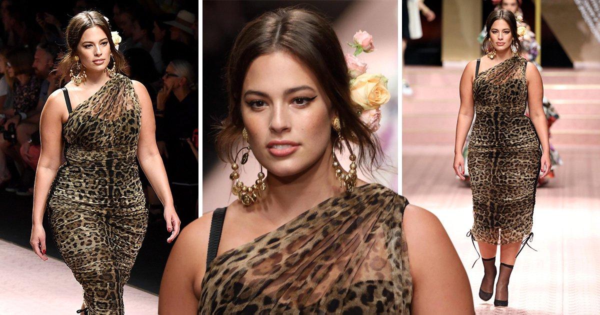 Ashley Graham slinks along the catwalk at Milan Fashion Week in leopard print