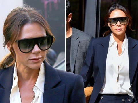 Victoria Beckham dons power suit and takes the Eurostar to Paris Fashion Week