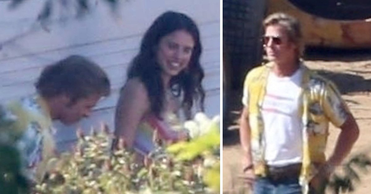 Brad Pitt chills with co-star Margaret Qualley on set of Once Upon A Time In Hollywood