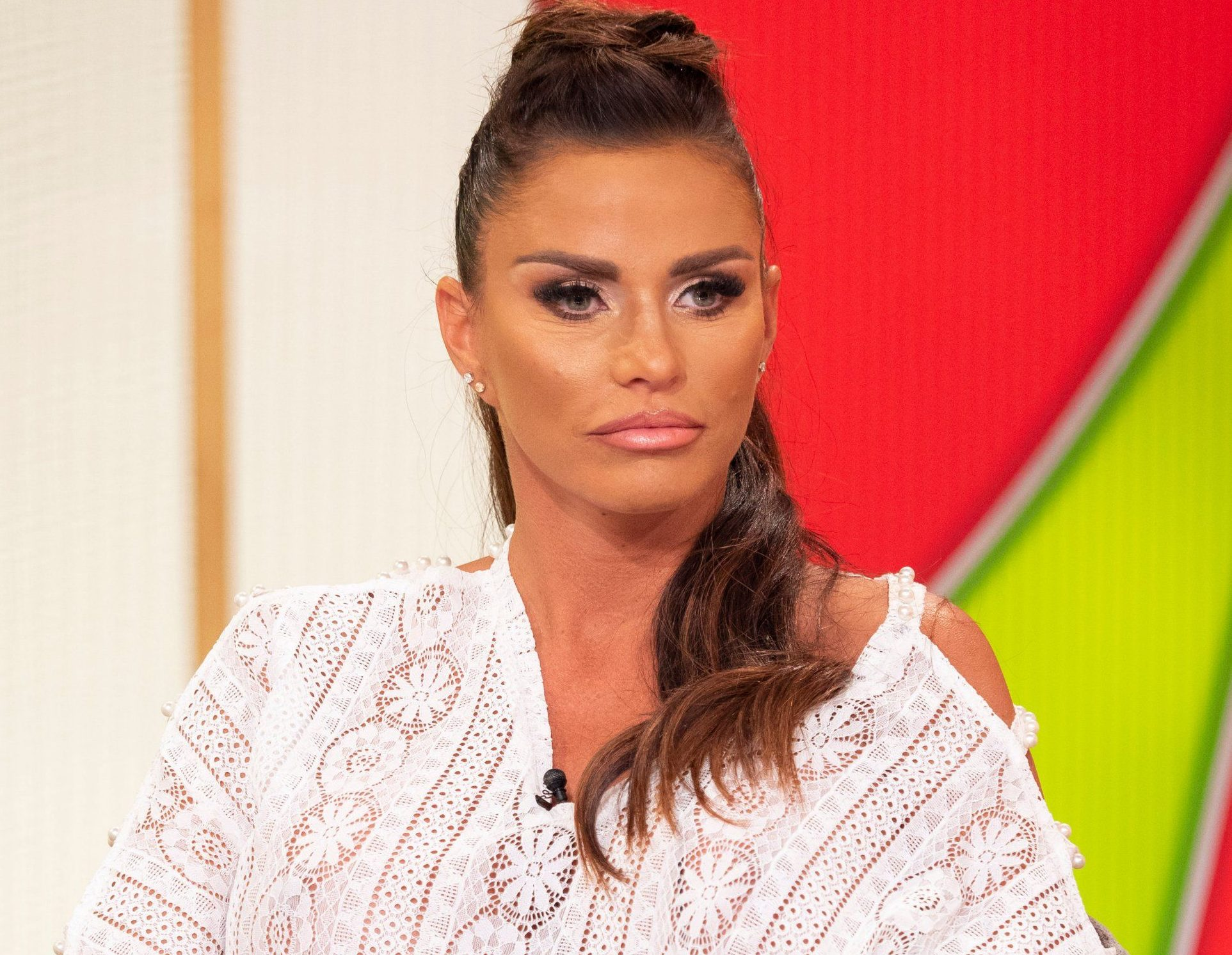 EDITORIAL USE ONLY. NO MERCHANDISING Mandatory Credit: Photo by Ken McKay/ITV/REX/Shutterstock (9766456cq) Katie Price 'Loose Women' TV show, London, UK - 20 Jul 2018