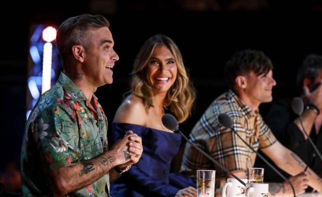 STRICT EMBARGO - NO USE BEOFRE 21:00 THURSDAY 30TH AUGUST 2018 Mandatory Credit: Photo by Dymond/Thames/Syco/REX (9838680n) Robbie Williams, Ayda Williams and Louis Tomlinson during the act of Janice Robinson 'The X Factor' TV show, Series 15, Episode 1, UK - 01 Sep 2018