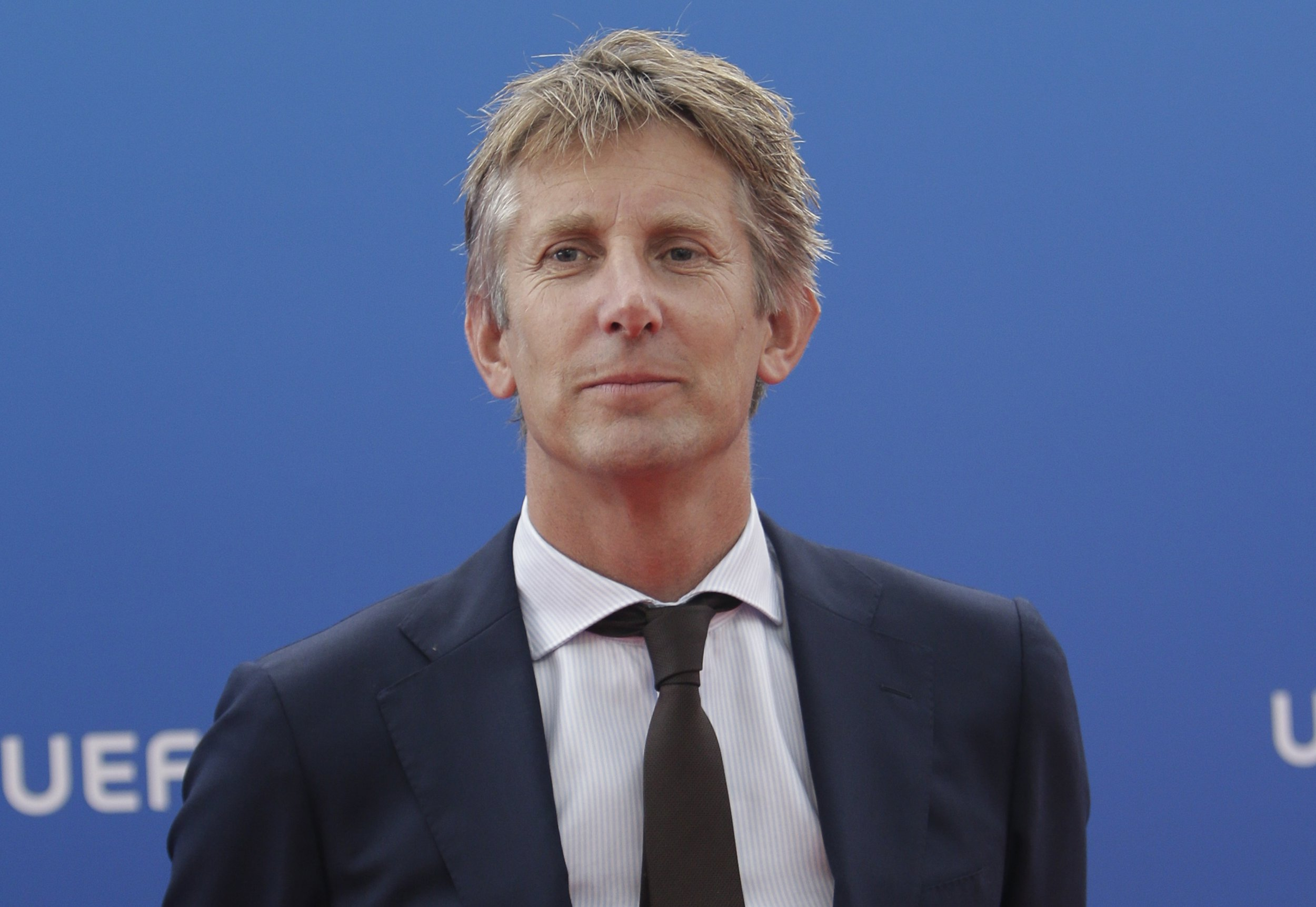 Former Ajax and Manchester United goalkeeper Edwin Van Der Sar arrives for the UEFA Champions League draw at the Grimaldi Forum, in Monaco, Thursday, Aug. 30, 2018. (AP Photo/Claude Paris)