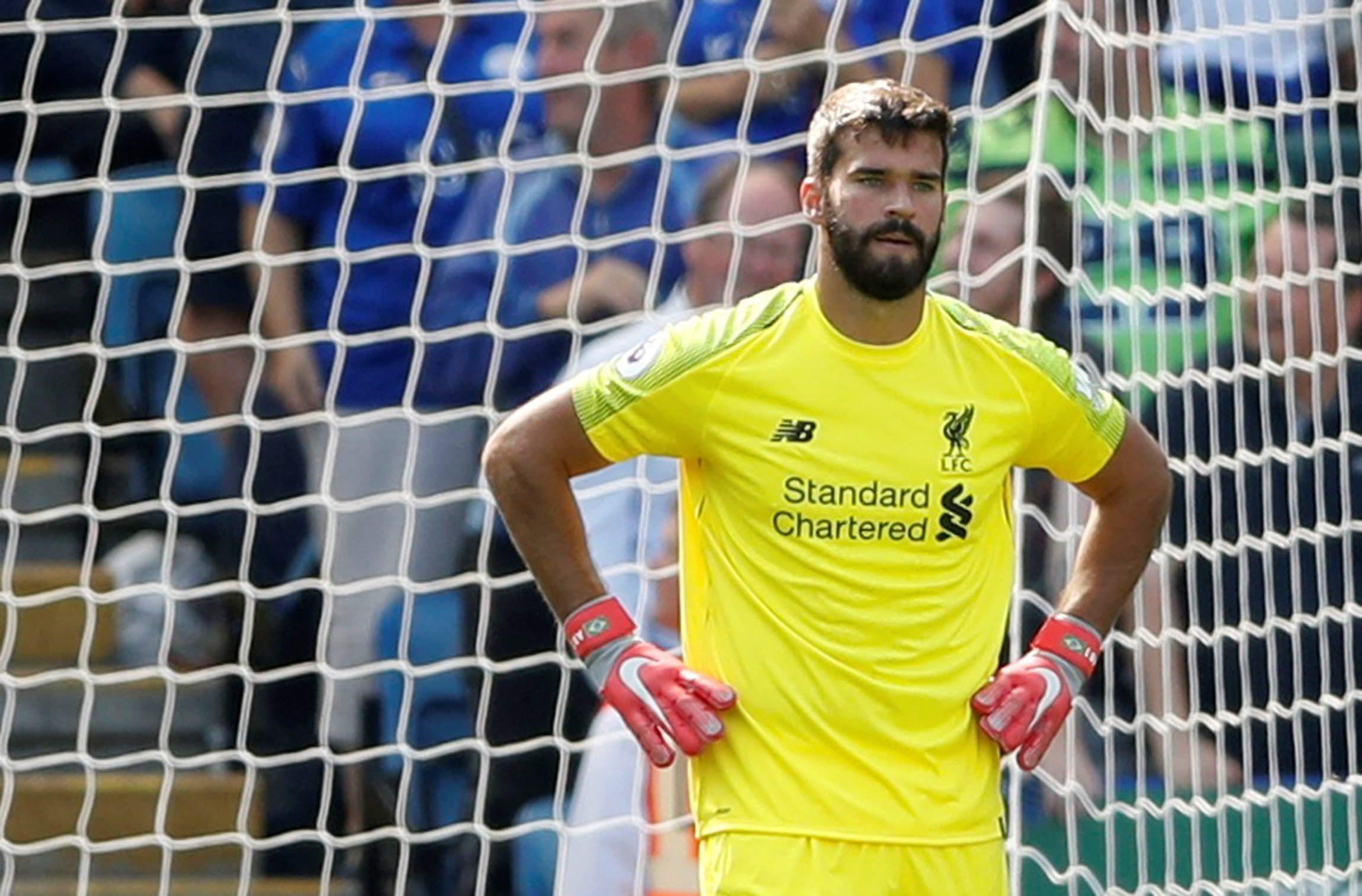 "Soccer Football - Premier League - Leicester City v Liverpool - King Power Stadium, Leicester, Britain - September 1, 2018 Liverpool's Alisson looks dejected after Leicester City's first goal Action Images via Reuters/Carl Recine EDITORIAL USE ONLY. No use with unauthorized audio, video, data, fixture lists, club/league logos or ""live"" services. Online in-match use limited to 75 images, no video emulation. No use in betting, games or single club/league/player publications. Please contact your account representative for further details."